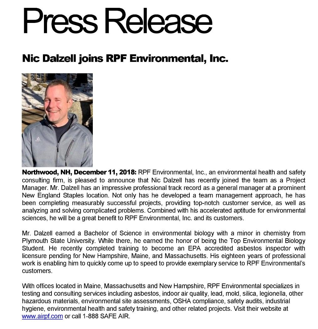 Nic Dalzell, Project Manager at RPF Environmental